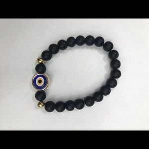 Natural Stone Bracelet with Evil Eye Charm